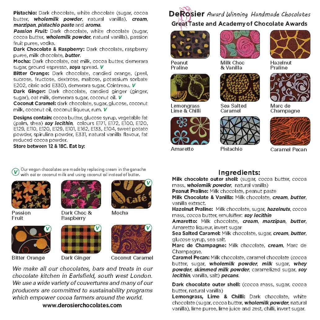 Chocolate box flavour card