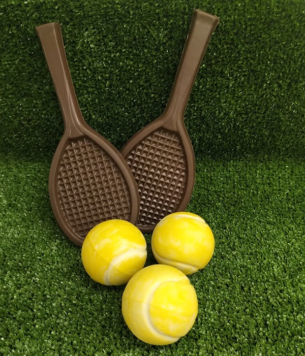 chocolates tennis rackets and balls